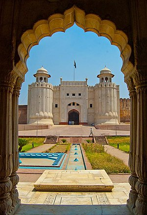 Lahore Fort, a landmark built during the Mughal era, is a UNESCO World Heritage Site. Lahore Fort.jpg