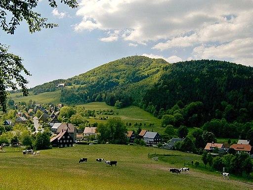 Blick auf den Berg Lausche bei Waltersdorf im Zittauer Gebirge