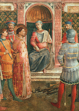 Saint Lawrence - Lawrence before Valerianus, detail from a fresco by Bl. Fra Angelico, c. 1447-50, Pinacoteca Vaticana