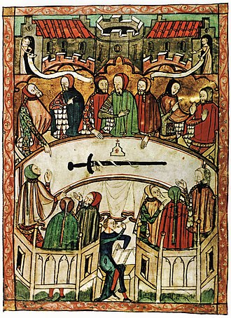 Vehmic court - A Vehm on a miniature in Herforder Rechtsbuch (ca 1375)