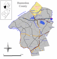 Map of Lebanon Township in Hunterdon County. Inset: Location of Hunterdon County highlighted in the State of New Jersey.