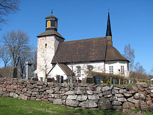The medieval parish church in Lemland.
