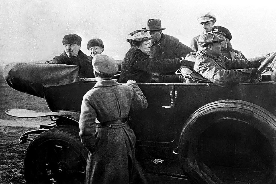 Lenin Krupskaya and Ulyanova in car at Red Army parade full photo 19180501