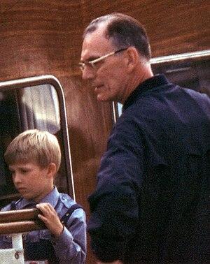 Lennart Bernadotte - Bernadotte on his new yacht Stella Polaris at Gripsholm with grandson Friedrich Lennart Straehl, August, 1965