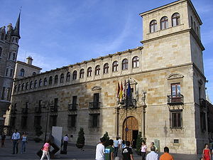 Province of León - The Palacio de los Guzmanes in the city of León, seat of the regional parliament or Diputación
