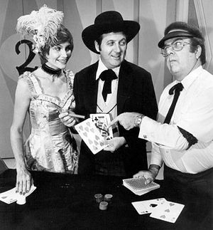 Carol Merrill - Merrill with Monty Hall and Jay Stewart on Let's Make a Deal, 1974