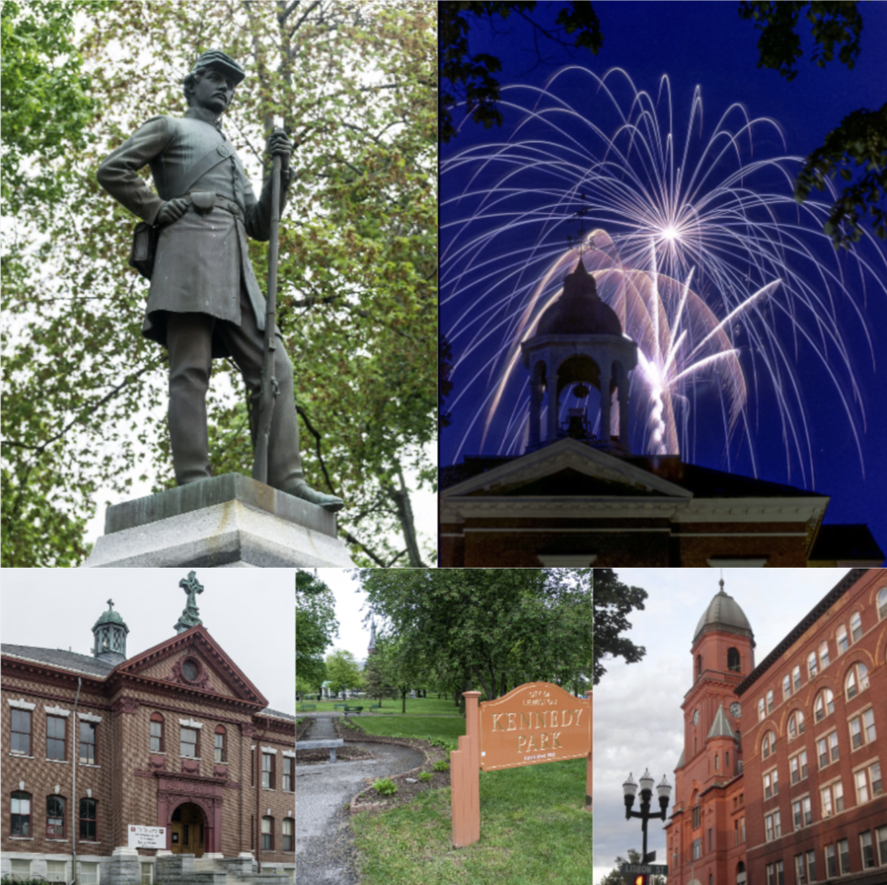 Top: Civil War Memorial Statue, Bates College's Hathorn Hall; Bottom: the Wallace School, Kennedy Park and Lewiston City Hall