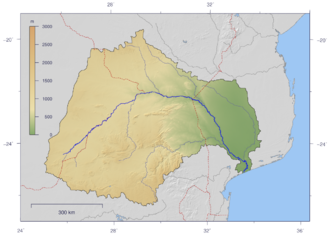 Changane River - Course and Watershed of the Limpopo River.