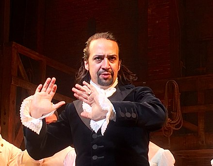 Lin-Manuel Miranda as Alexander Hamilton in the musical Hamilton, written by Miranda Lin-Manuel Miranda in Hamilton.jpg