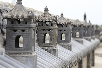 Shanxi merchants - Roof top decorations in Wang Family Compound, in Lingshi