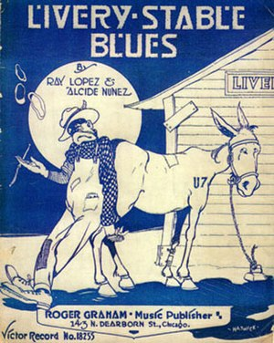 Livery Stable Blues - 1917 Ray Lopez and Alcide Nunez version sheet music cover, artwork by Grim Natwick. Roger Graham Music Publisher, Chicago.