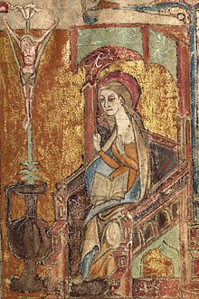 Llanbeblig Hours (f. 2r.) The Annunciation, The Virgin Mary enthroned under a green canopy..jpg