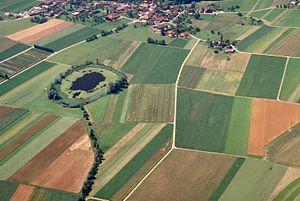 Seedorf, Bern - Lobsigensee and the village of Lobsigen