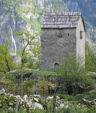 Feud - A fortified tower used as refuge for men involved in a blood feud who are vulnerable to attack. Thethi, northern Albania.