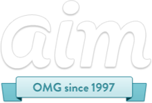 "AIM's new logo introduced in December 2011, replacing the earlier ""running man"" mascot"