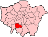 Location of the London Borough of Merton in Greater London