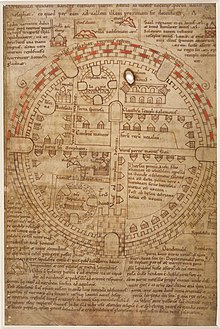 A 12th century diagram of Jerusalem and the Holy Land with the city in a round shape