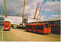 London buses in North Greenwich Bus Station, Millennium Dome, Greenwich, London March 2004.jpg