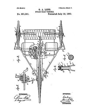 Long steam tricycle - Patent drawing dated July 10, 1883