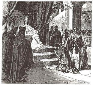 Ludovico il Pio che fa ammenda ad Attigny nell'822