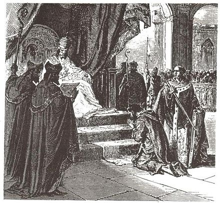 Louis the Pious doing penance at Attigny in 822 Louis the Pious.jpg