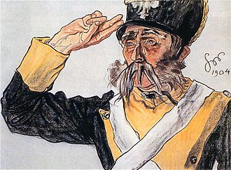 Two-finger salute - A two-fingers salute. Drawing by Stanisław Wyspiański, 1904.