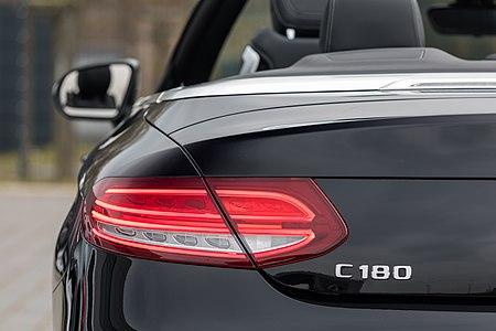 Rear light of a Mercedes-Benz C-Klasse Cabrio at car dealer Beresa in Münster, North Rhine-Westphalia, Germany
