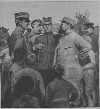 Allied Army of the Orient - Allied collaboration: an Italian captain, a Russian lieutenant, a Serb colonel, a French lieutenant, and a Greek gendarme