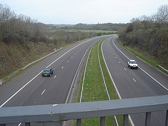 Trunk roads in Wales - Image: M48 from bridge, Caldicot geograph.org.uk 361311