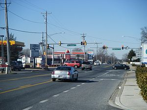 Maryland Route 12 - Northbound MD 12 at intersection with College Avenue/Beaglin Park Drive in Salisbury.