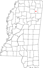 Location of Tupelo in Lee County