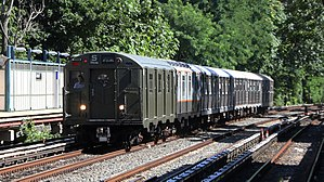 R16 (New York City Subway car) - R16 6387 leading the Train of Many Metals at Avenue H.