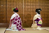 A maiko (on the left) and a geisha (on the right) facing away from the camera, sat on a tatami mat
