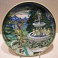 Maiolica di casteldurante, piatto con perseo che libera andromeda, 1525-1530 circa.JPG