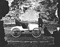 Man sitting in the first automobile built in Alaska, Skagway, circa 1907 (AL+CA 4334).jpg