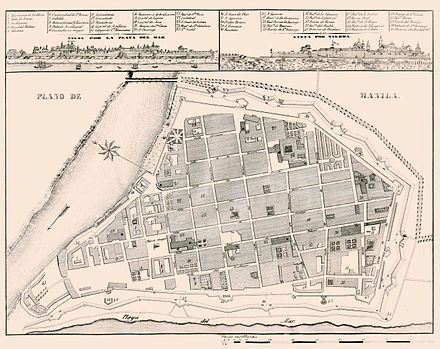 Map of the walled city of Intramuros in Manila with elements of colonial planning called Laws of the Indies present. Manila 1851.jpg