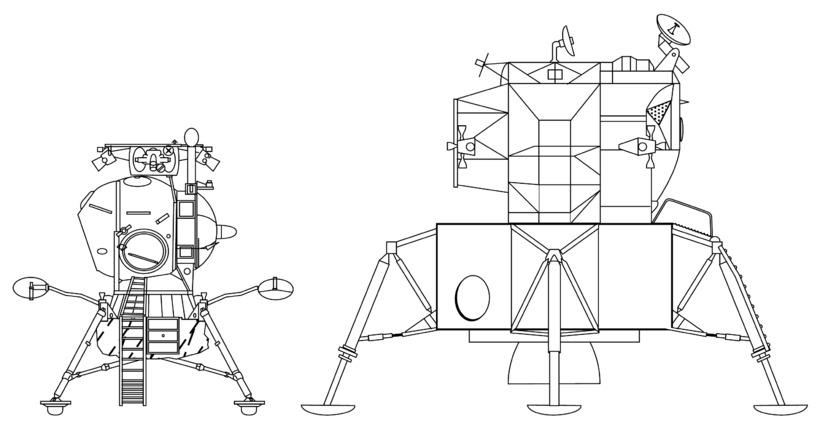 Manned Moon landers LK vs LM - to scale drawing.png