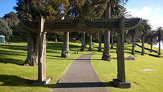 Waikaraka Cycleway - A carved gate over the path near Mount Roskill.