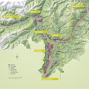 South Tyrol wine - Map of the South Tyrolean wine zones