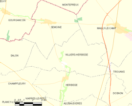 Mapa obce Villiers-Herbisse