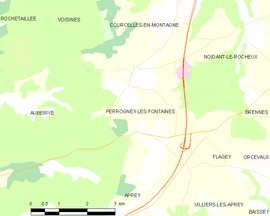 Mapa obce Perrogney-les-Fontaines