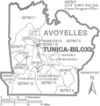 Map of Avoyelles Parish Louisiana With Municipal and District Labels.PNG