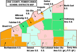 Erie County, Pennsylvania - Map of Erie County, Pennsylvania School Districts