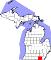 State map highlighting Lenawee County