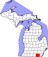 Map of Michigan highlighting Lenawee County