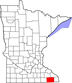 map of Minnesota highlighting Fillmore County