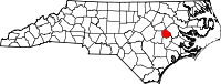 Map of North Carolina highlighting Greene County