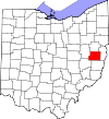 State map highlighting Harrison County