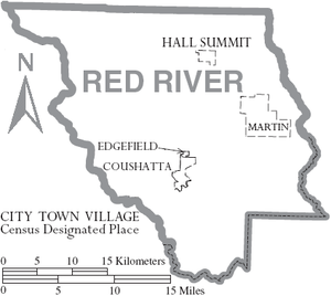 Red River Parish, Louisiana - Map of Red River Parish, Louisiana With Municipal Labels