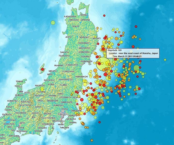 Mapa del terremoto de Tohoku, Japón, 2011, y algunas de sus réplicas